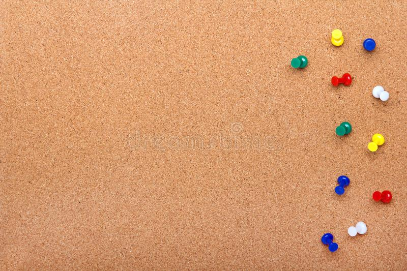 Pin board texture for background and colorful pins frame stock images