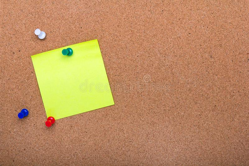 Pin board texture for background, corolful pins and sticky notes stock photography