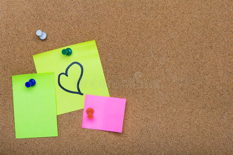 Pin board texture for background, corolful pins and sticky notes stock image