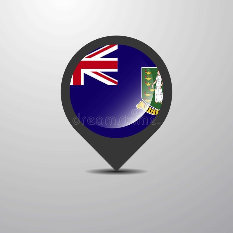 Pin BRITANNIQUE de carte des Îles Vierges illustration libre de droits