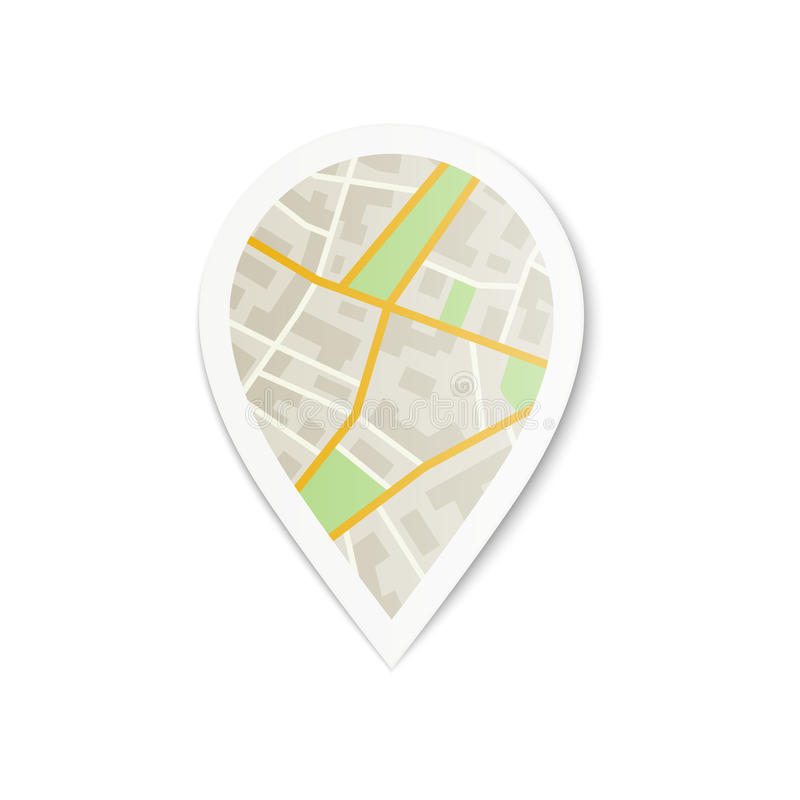 Pin with City Map. Vector illustration of Map Pointer royalty free illustration