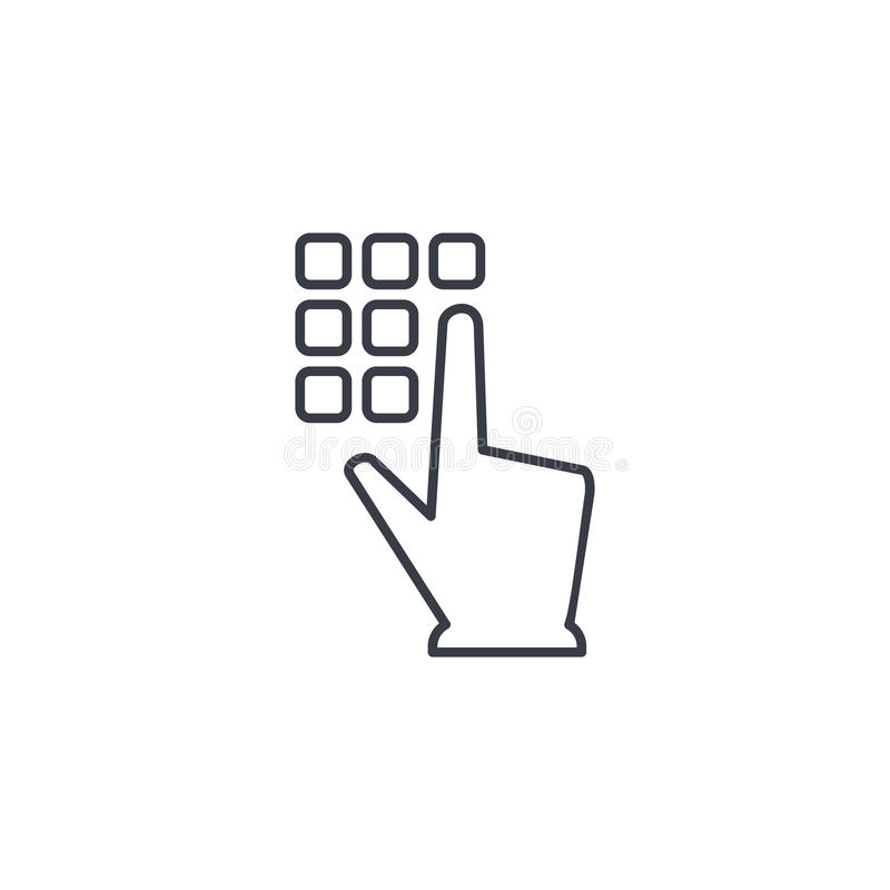 Free Pin Code Keypad, Access Security Lock, Hand Pushing Thin Line Icon. Linear Vector Symbol Stock Images - 99228894