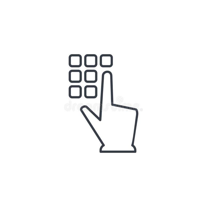 Pin code keypad, access security lock, hand pushing thin line icon. Linear vector symbol royalty free illustration