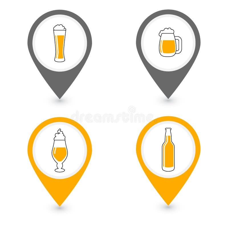 Pin d'emplacement de barre d'alcool ou de bière, ensemble d'icône de vecteur illustration de vecteur