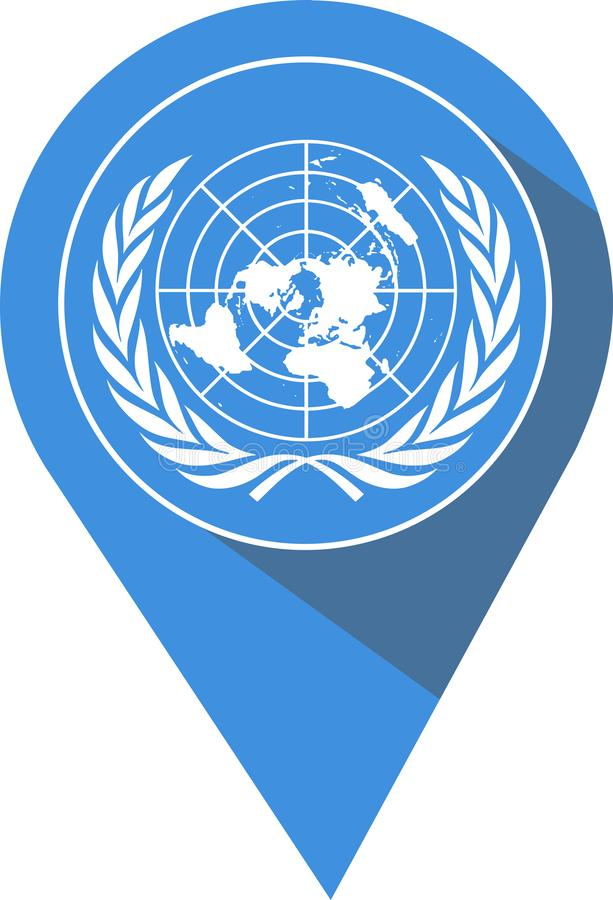 Pin dans la couleur du drapeau des Nations Unies illustration stock