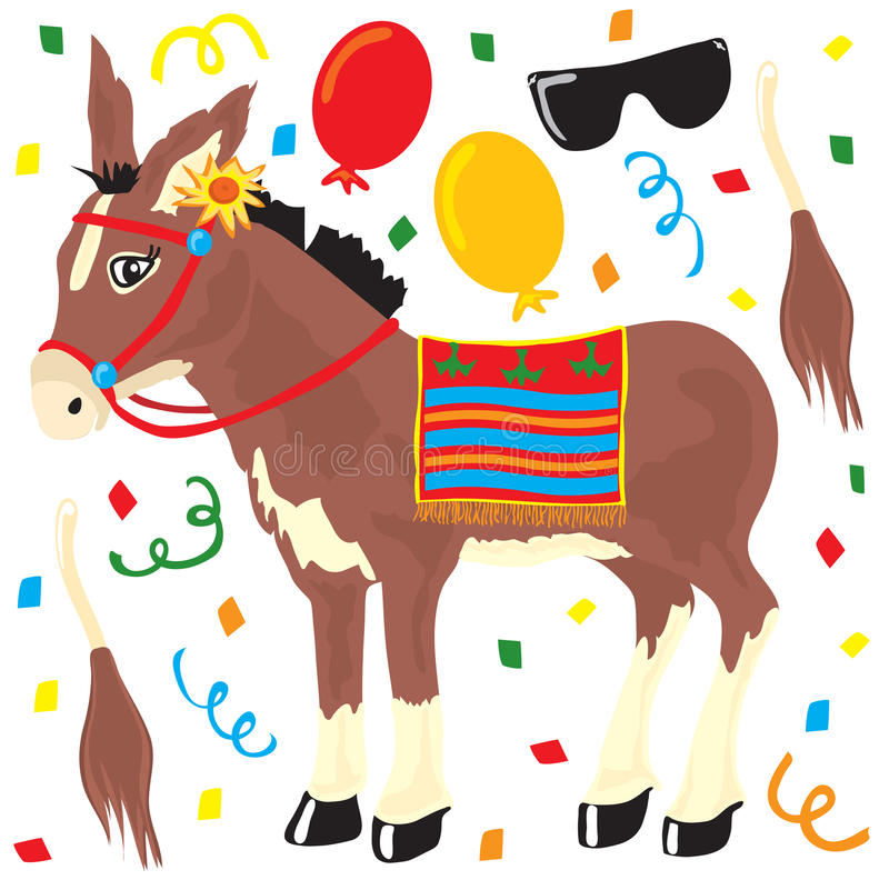 Pin das Heck auf den Esel-Partyelementen vektor abbildung