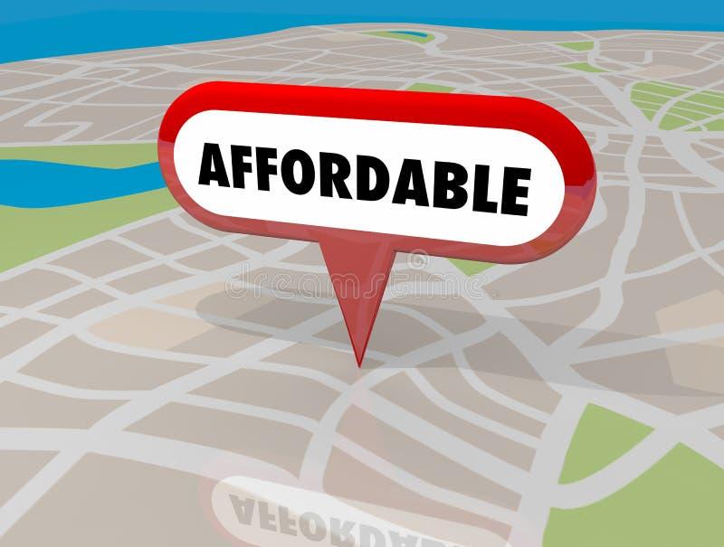 Pin de abrigo disponível 3d Illu do mapa da propriedade da construção de Real Estate ilustração royalty free