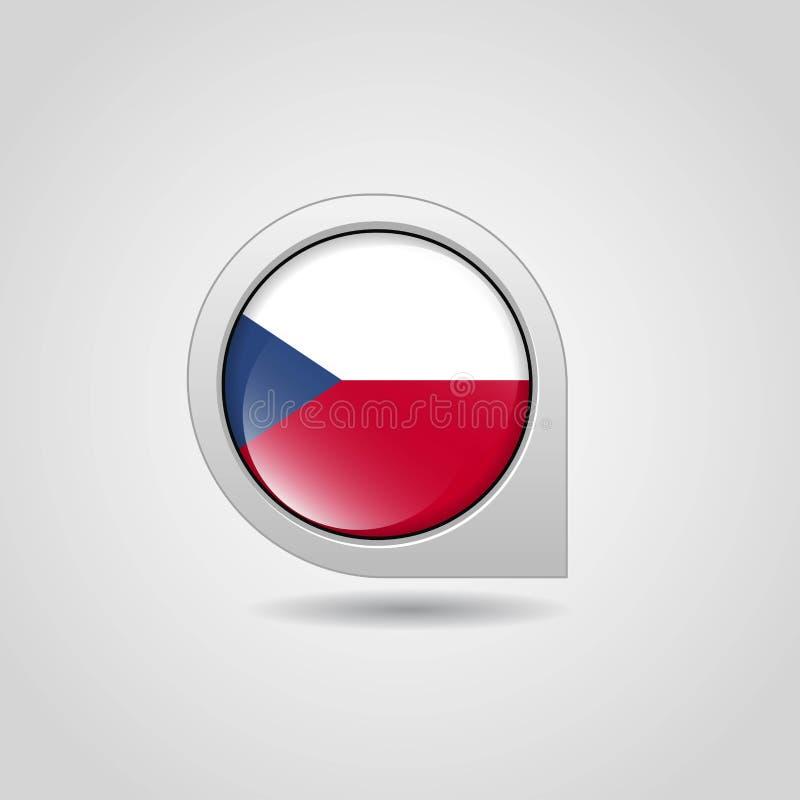 Pin de carte de drapeau de République Tchèque illustration stock
