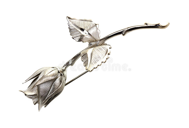 Pin de prata de Rosa foto de stock