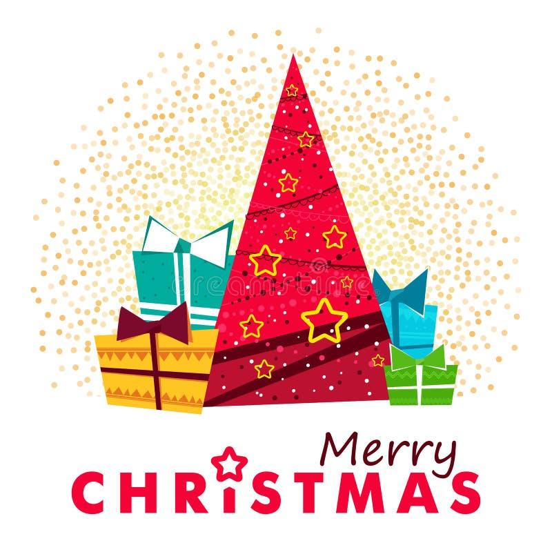 Pin de rouge de Joyeux Noël illustration de vecteur