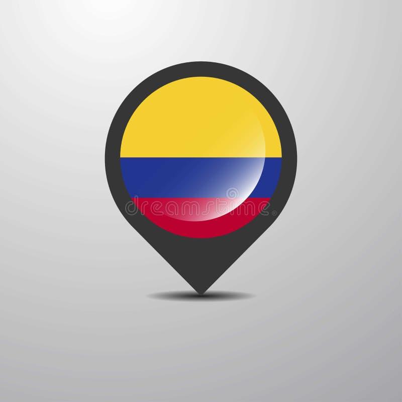 Pin do mapa de Colômbia ilustração do vetor