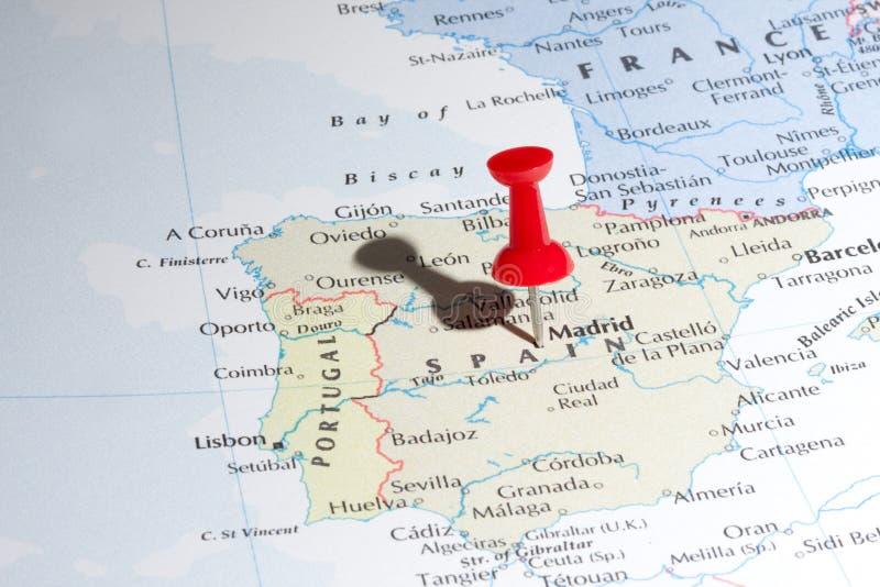 Pin do mapa de Madrid imagens de stock