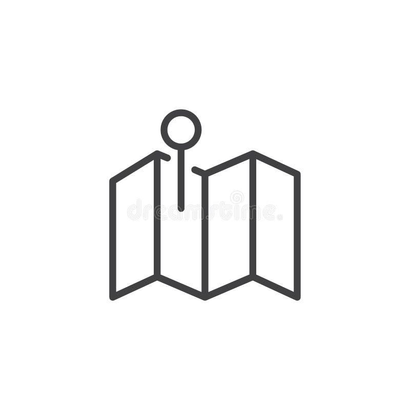 Pin en la línea icono del mapa stock de ilustración
