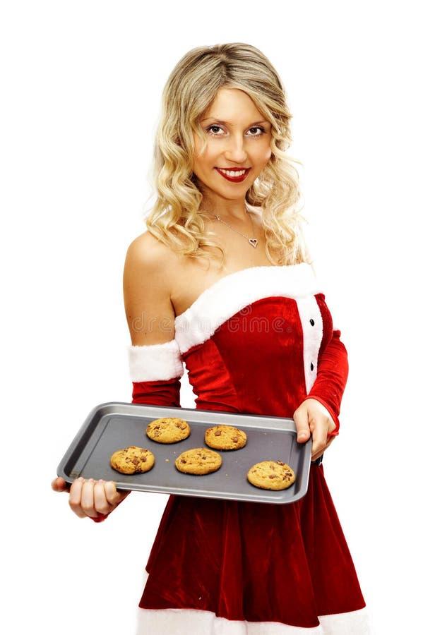 Pin encima de la muchacha de santa con las galletas imagen de archivo libre de regalías