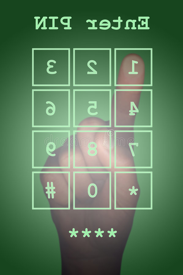 PIN entry on a touch screen with hand vector illustration