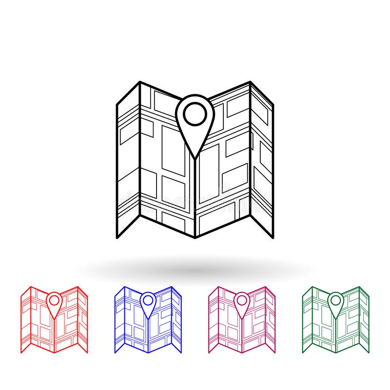 Pin on the expanded map multi color icon. Simple thin line, outline vector of navigation icons for ui and ux, website or mobile vector illustration
