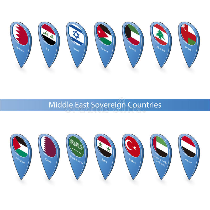Download Pin Flags Of The Middle East Sovereign Countries Stock Illustration - Illustration of nation, marker: 34801417