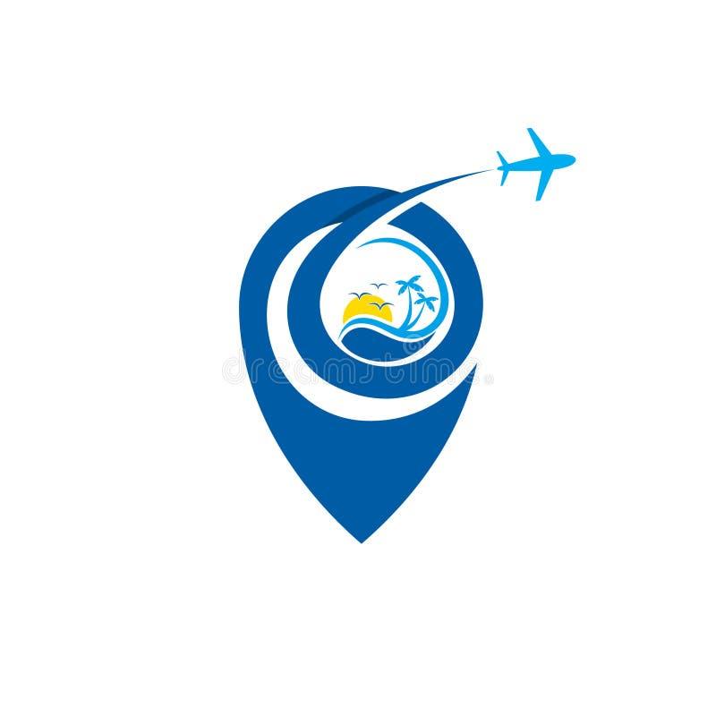 Pin flight business travel vector design emblem with blue color vector illustration