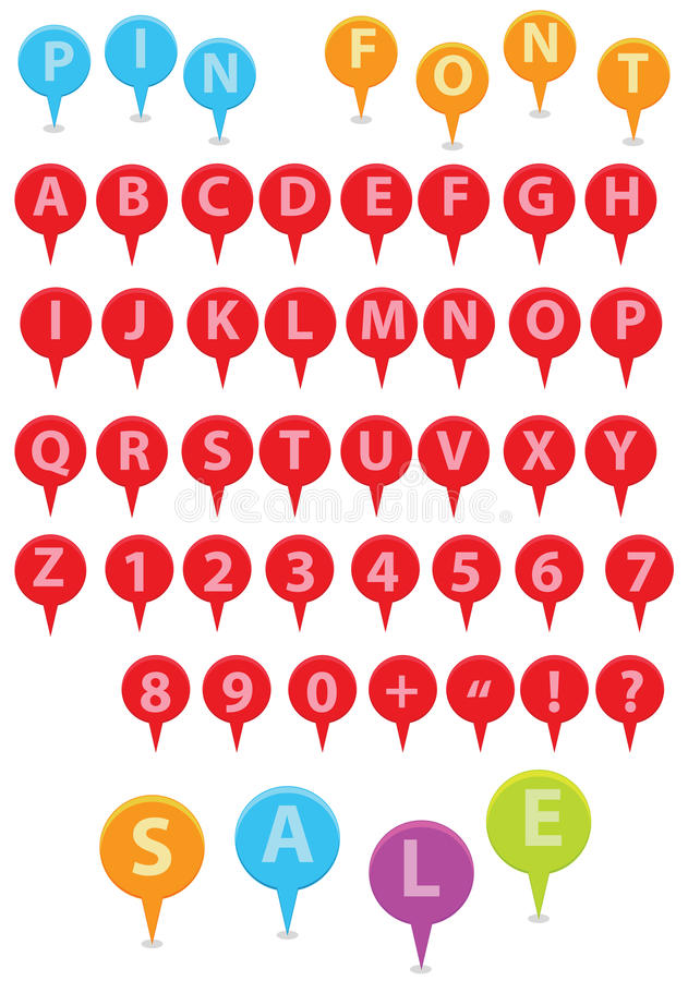 Download Pin Font stock vector. Image of numerals, multicolored - 21908526