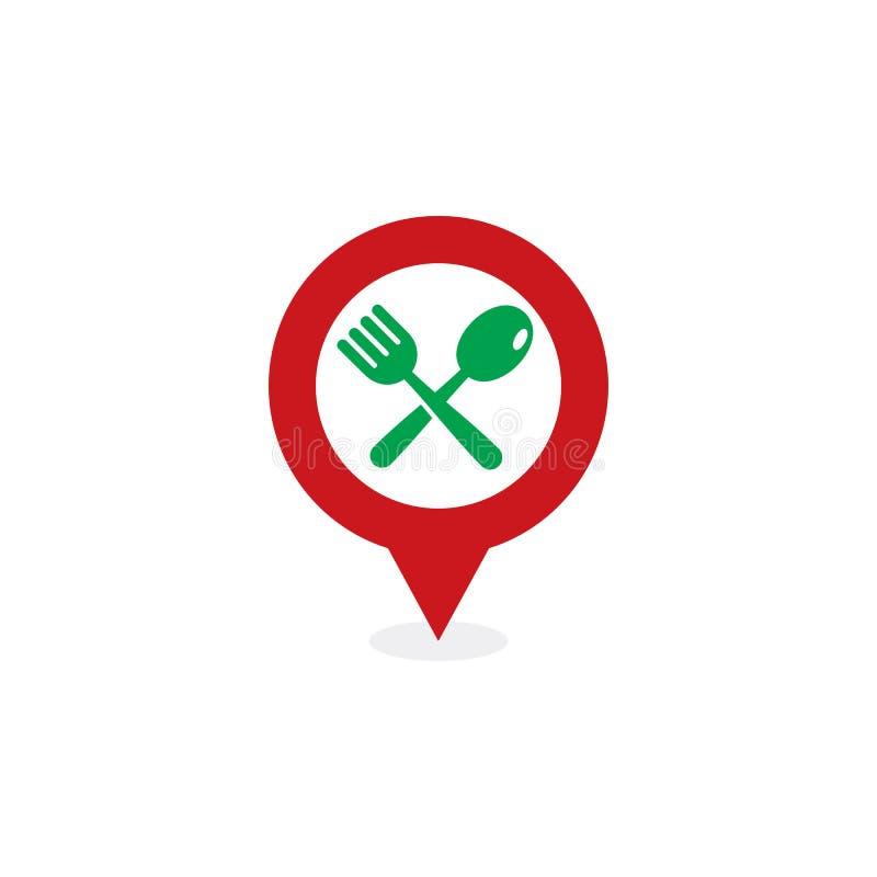 Pin Food Logo Icon Design stock abbildung