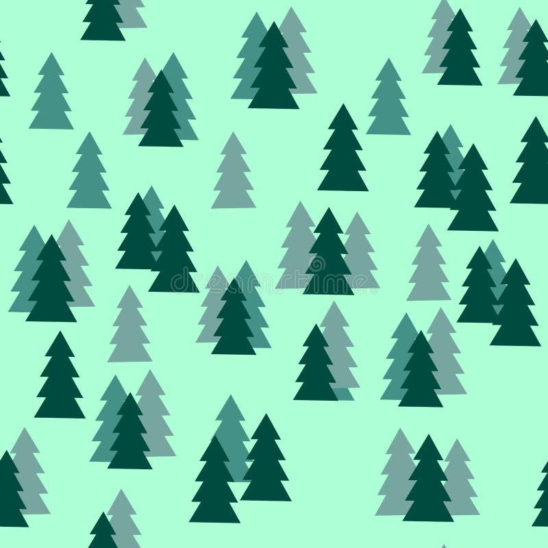 Pin Forest Silhouette Seamless Pattern sur le fond vert illustration libre de droits