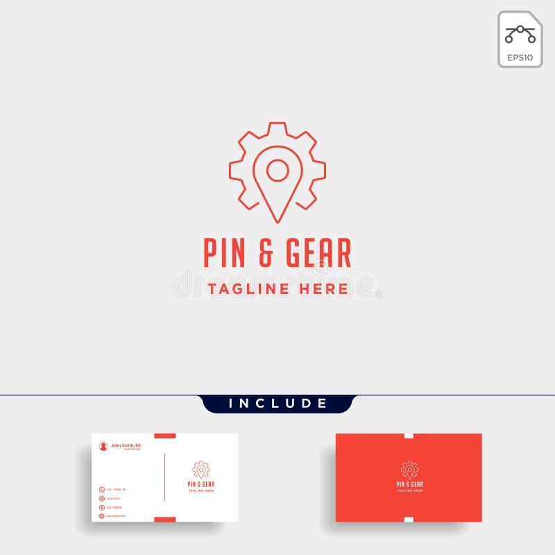 pin gear logo vector navigator simple icon symbol sign isolated vector illustration