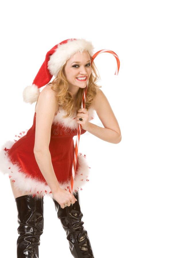 Pin herauf Mrs Weihnachtsmann mit sehr großer Zuckerstange stockfotografie