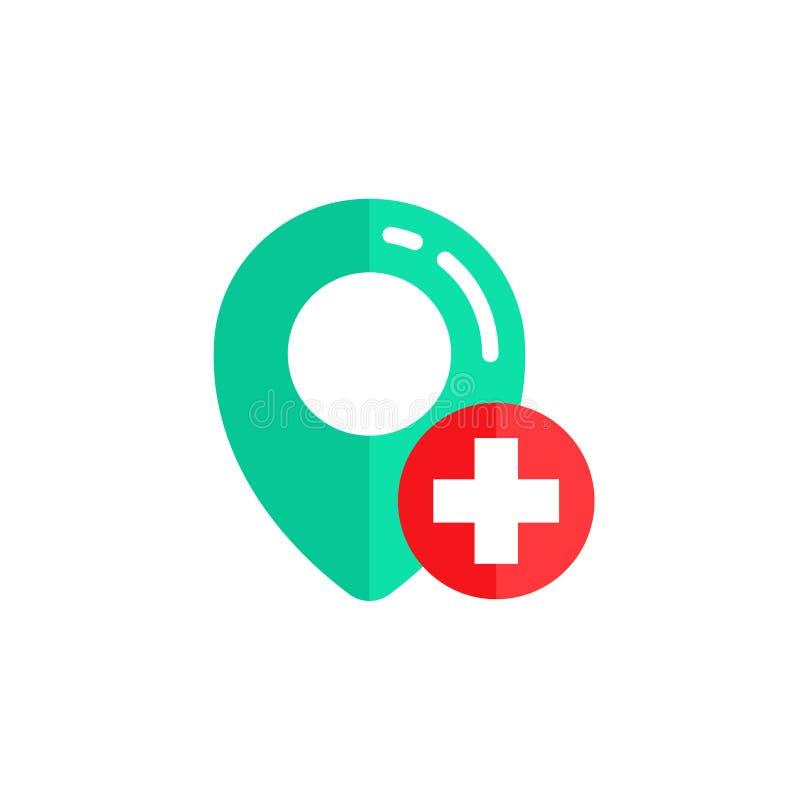 pin hospital location icon vector design. cross red sign symbol design stock illustration