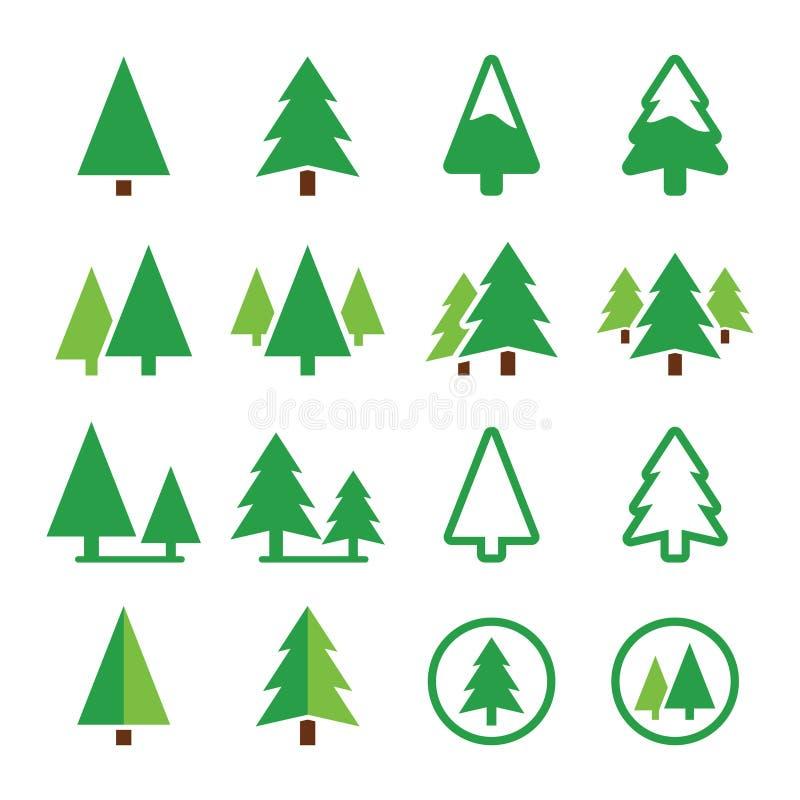 Pin, icônes de vert de vecteur de parc réglées