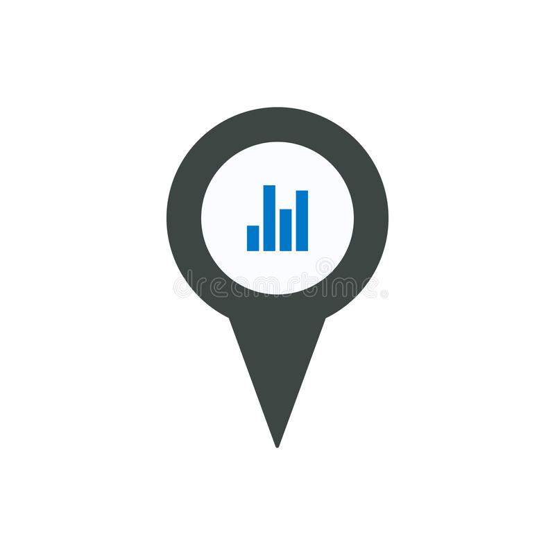 Pin icon with chart sign symbol. Navigation travel direction pointer royalty free illustration