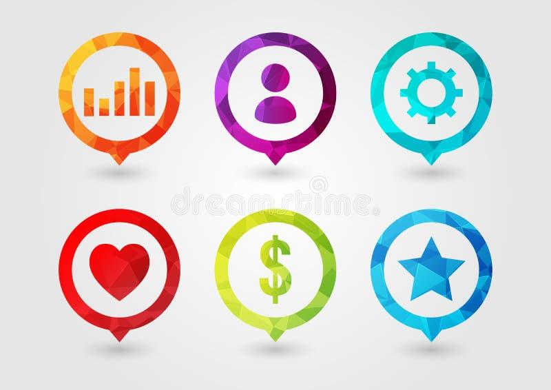 Pin Icon stellte für Geschäft ein Benutzer-Einstellungs-Diagramm-Geld-Stern Favouri stock abbildung