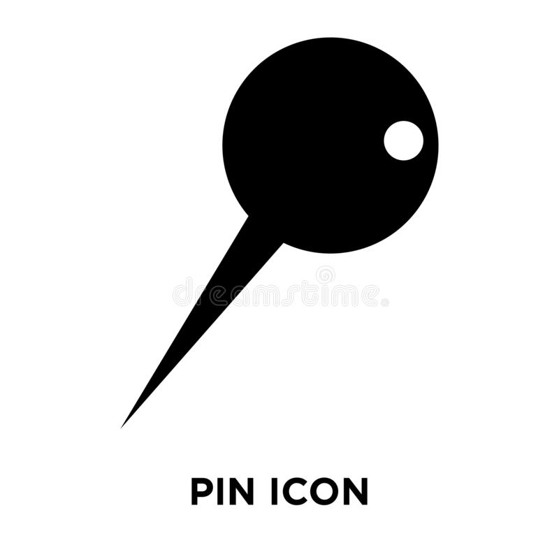 Pin icon vector isolated on white background, logo concept of Pi. N sign on transparent background, filled black symbol stock illustration