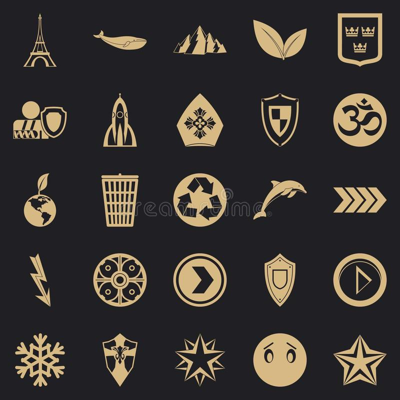 Pin icons set, simple style. Pin icons set. Simple set of 25 pin vector icons for web for any design royalty free illustration