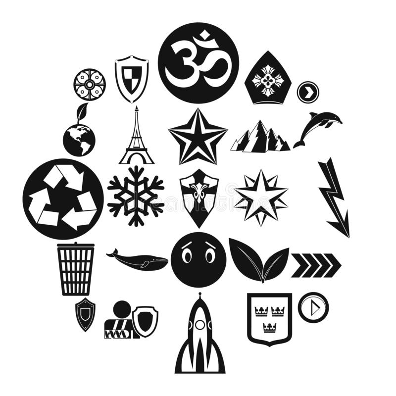 Pin icons set, simple style. Pin icons set. Simple set of 25 pin vector icons for web isolated on white background vector illustration