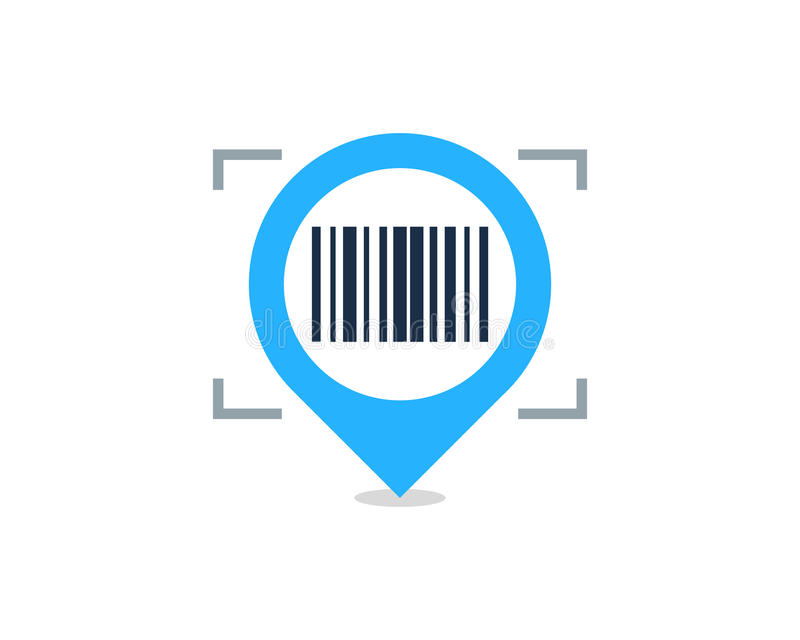 Pin Location Barcode Icon Logo Design Element royalty free stock images
