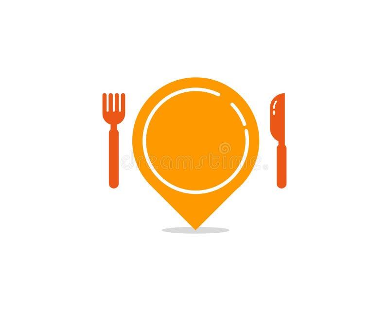 Pin Location Food Icon Logo-Gestaltungselement stock abbildung