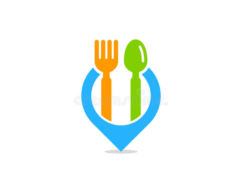 Pin Location Food Icon Logo-Gestaltungselement lizenzfreie abbildung