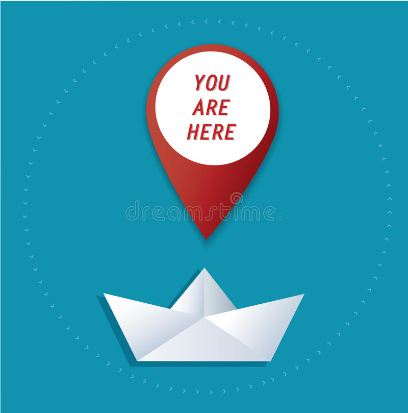 Pin location icon on paper boat vector, the concept of travel stock illustration