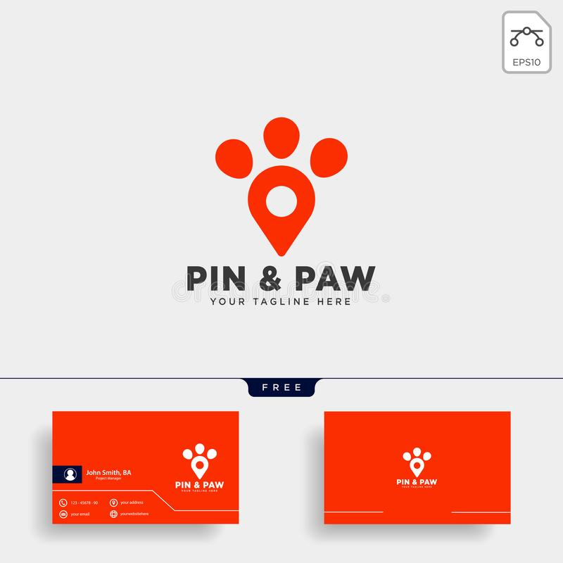 Pin or location pet animal logo template vector icon. Element isolated vector illustration