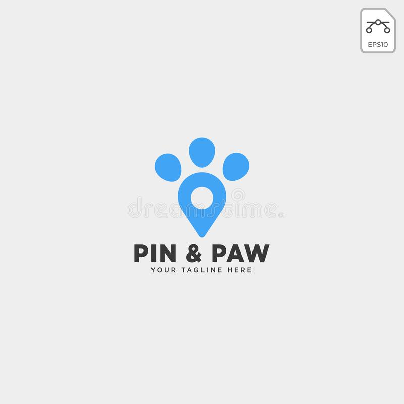 Pin or location pet animal logo template vector icon. Element isolated stock illustration