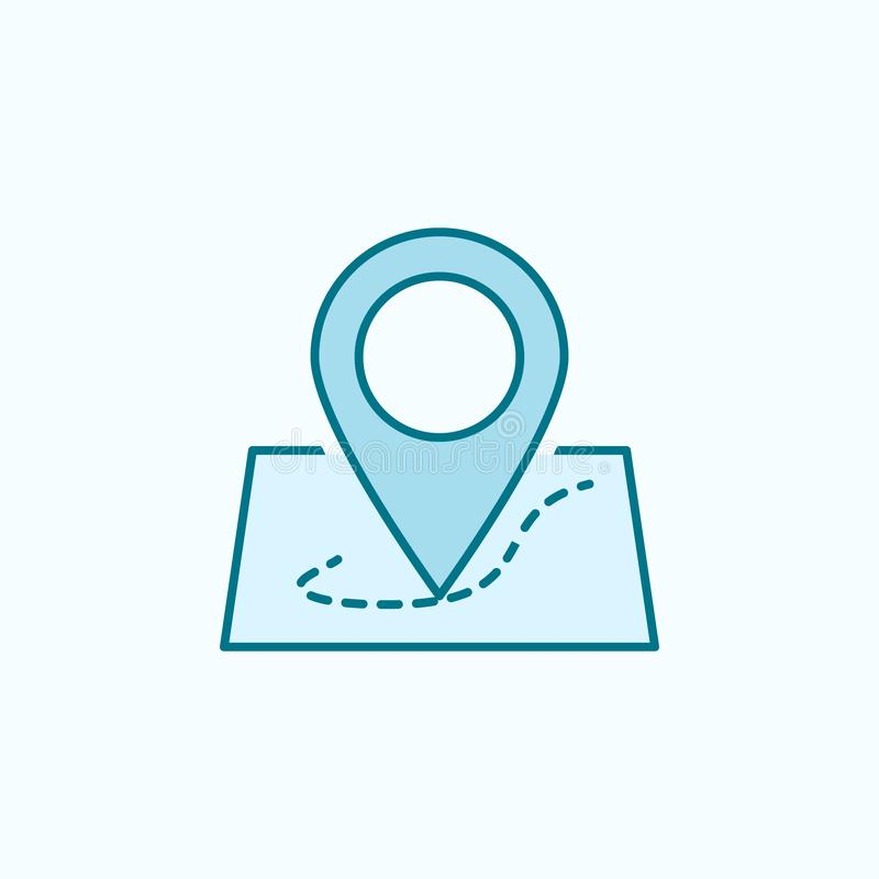 Pin on the map 2 colored line icon. Simple colored element illustration. pin on the map outline symbol design from web icons set. On blue background royalty free illustration
