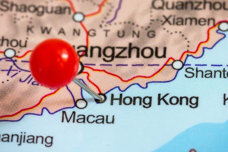 Pin on a map of Hong Kong stock photo