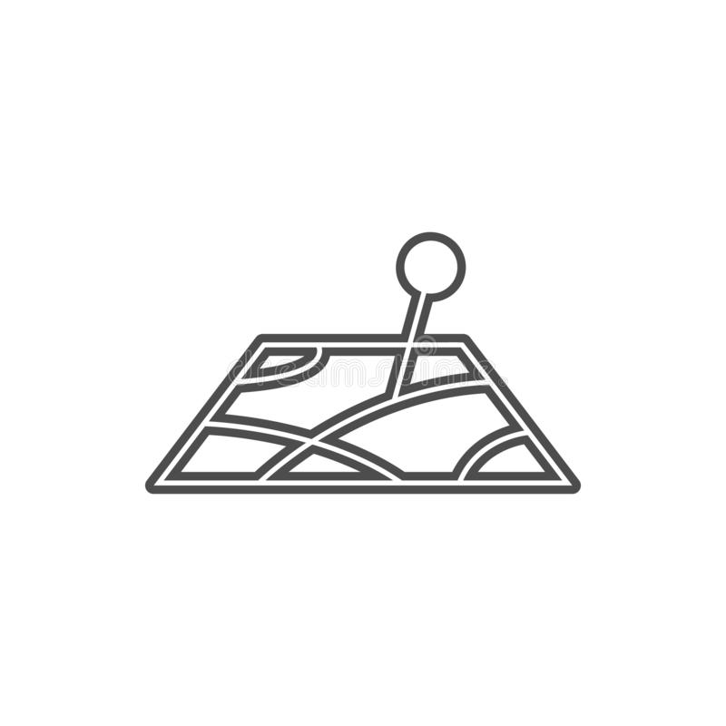 Pin on the map icon. Element of cyber security for mobile concept and web apps icon. Thin line icon for website design and. Development, app development on stock illustration