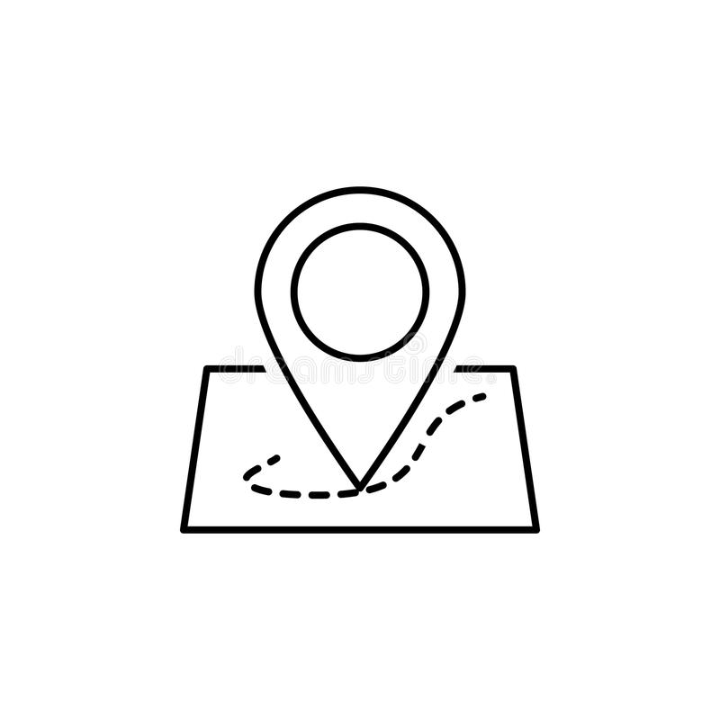 pin on the map icon. Element of simple icon in material style for mobile concept and web apps. Thin line icon for website design a stock illustration