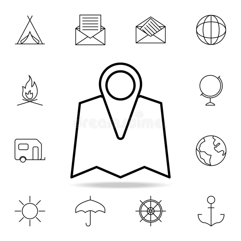 Pin on the map icon. Element of simple icon for websites, web design, mobile app, info graphics. Thin line icon for website design. And development, app vector illustration