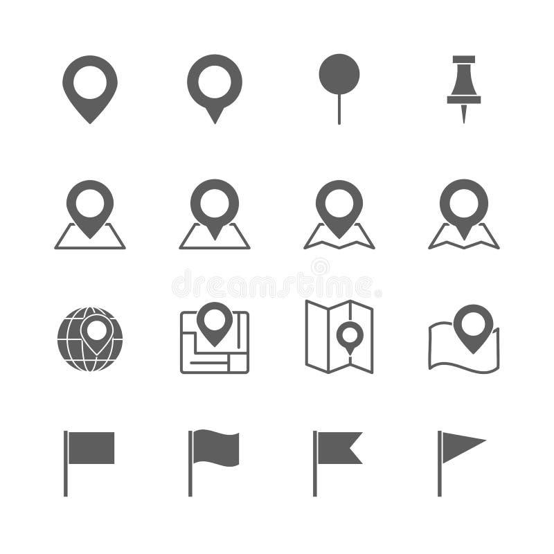 Pin map icons set. On white background royalty free illustration
