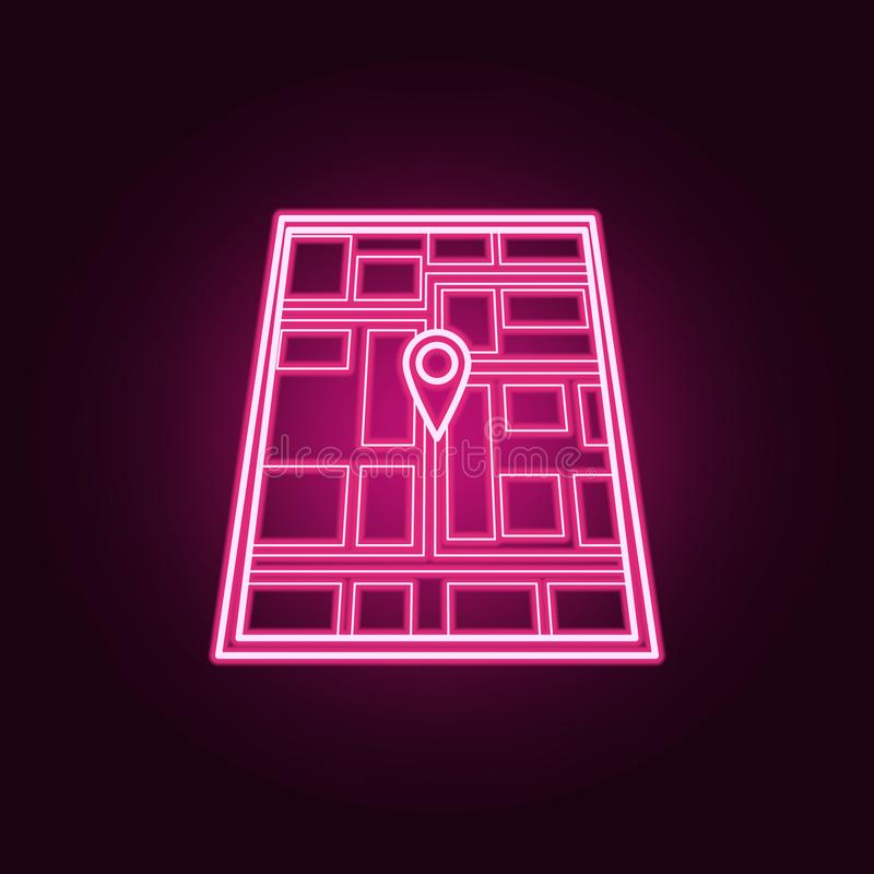 Pin on the map neon icon. Elements of Navigation set. Simple icon for websites, web design, mobile app, info graphics. On dark gradient background stock illustration
