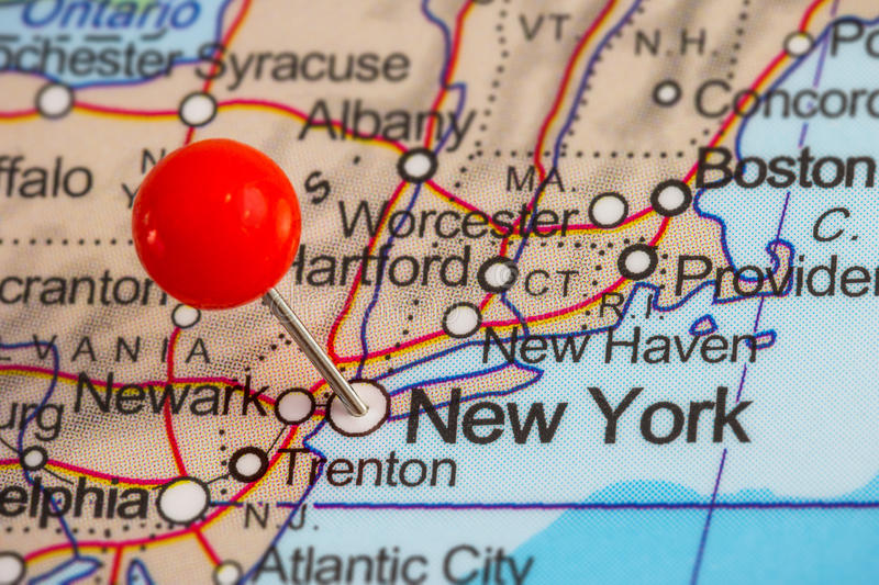 Pin in a map of New York royalty free stock photography