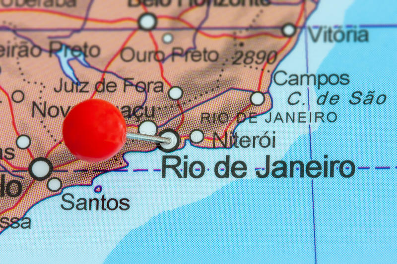 Pin On A Map Of Rio De Janeiro Stock Photo Image of closeup paper