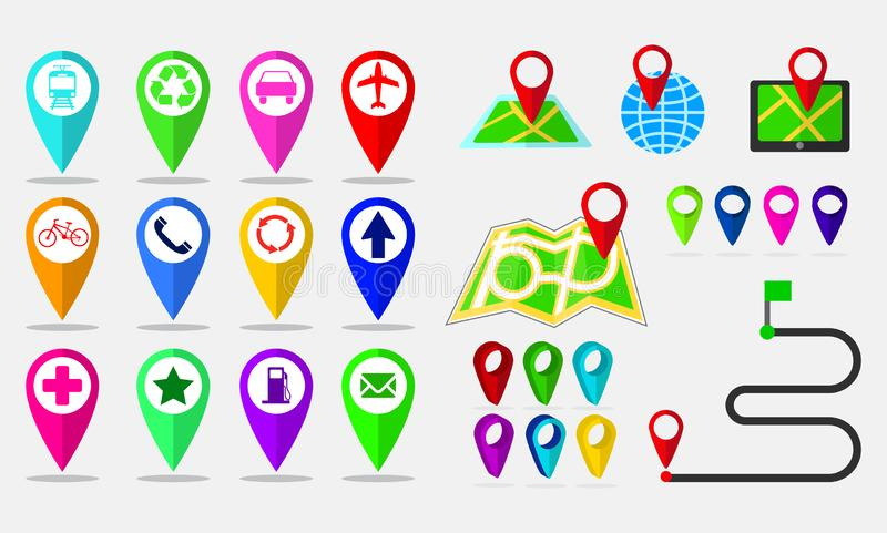 Set of maps pin, locating destination on application or gadget. Easy to modify vector illustration